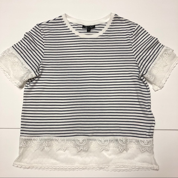 Womens Topshop Stripe Lace Hem Crop Shirt Blue New Short Sleeve Size 6 8 US